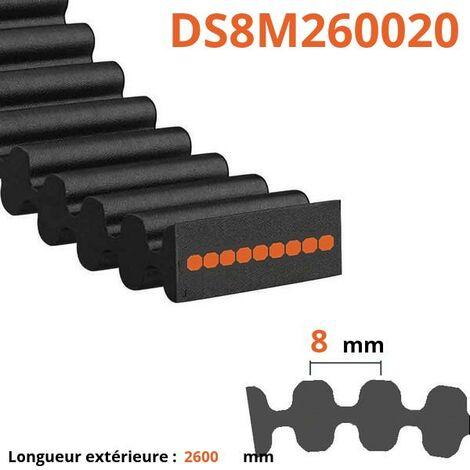 Courroie plate double dentée DS8M260020