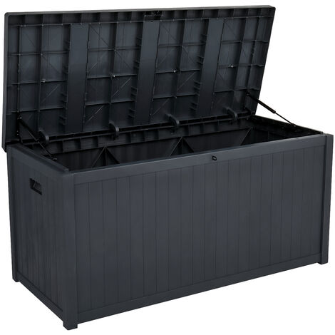 "main image of ""Courtyard storage box outdoor rectangular plastic waterproof storage box garden balcony Black - Black"""