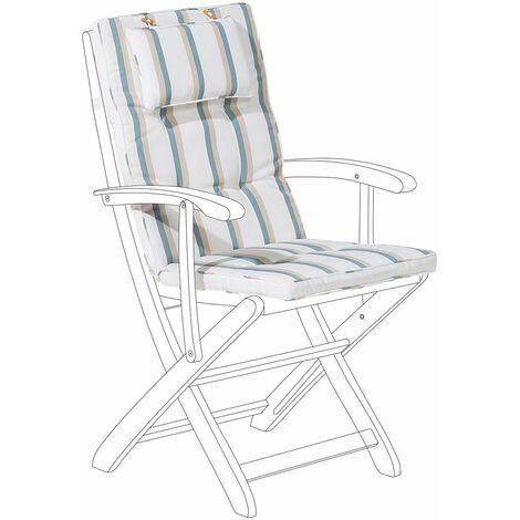 Coussin à rayure beige et vert pour chaise de jardin JAVA ...