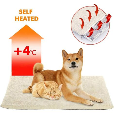Coussin auto-chauffant pour chat chien,Couverture chauffante Thermique 60x45 cm Sans électricité & batteries