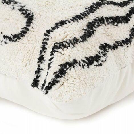 Coussin berbere Ethno - 60 x 80 cm - Beige naturel et noir
