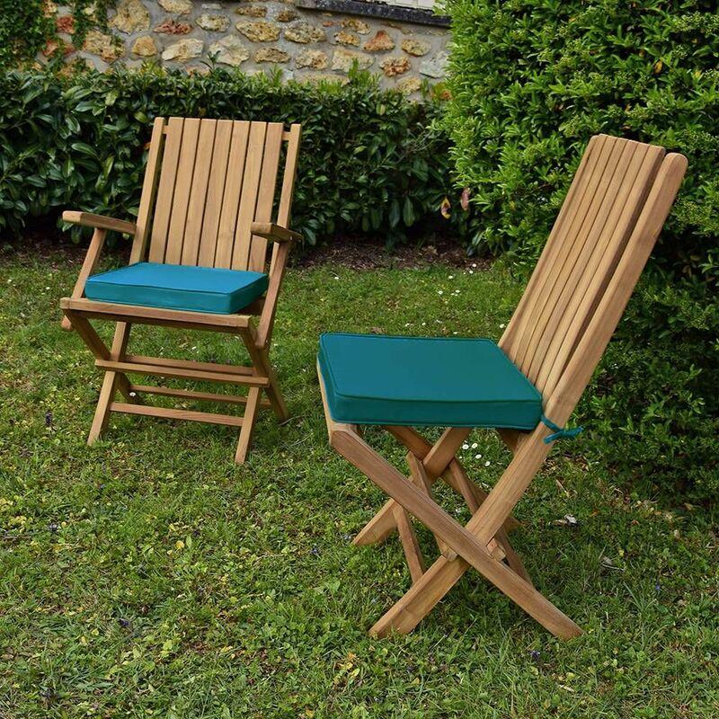 Coussin bleu canard pour chaises et fauteuils pliants - Bleu canard