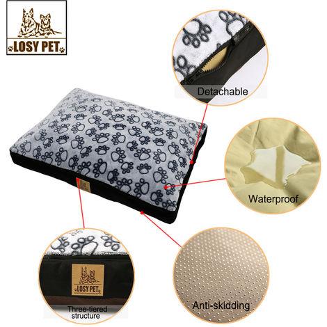Coussin Chien de Grande Taille Lit Rembouré pour Animaux Domestique Etanche Douce pour Dormir en Hiver Taille XL 100x85x10cm