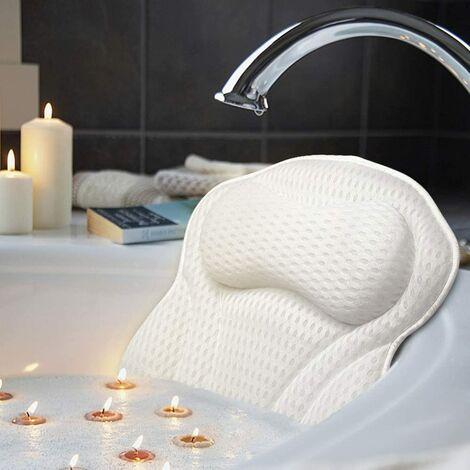 Coussin de Baignoire & Spa avec Technologie 4D Air Mesh et 6 ventouses Fonction de Soutien pour la tête, Convient pour Les baignoires, Les spas à remous et Les spas à la Maison