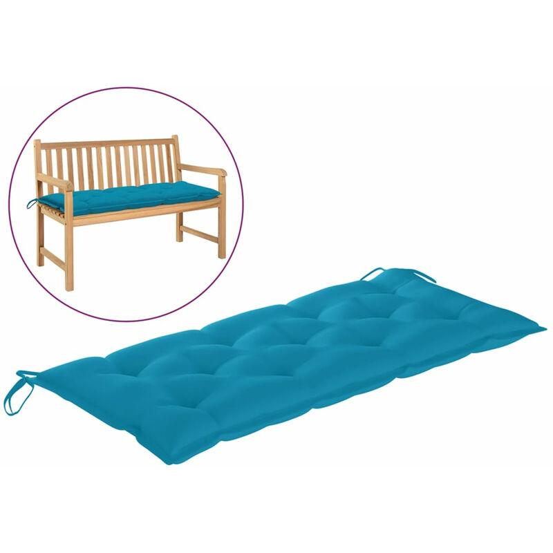 Coussin de banc de jardin Bleu clair 120x50x7 cm Tissu