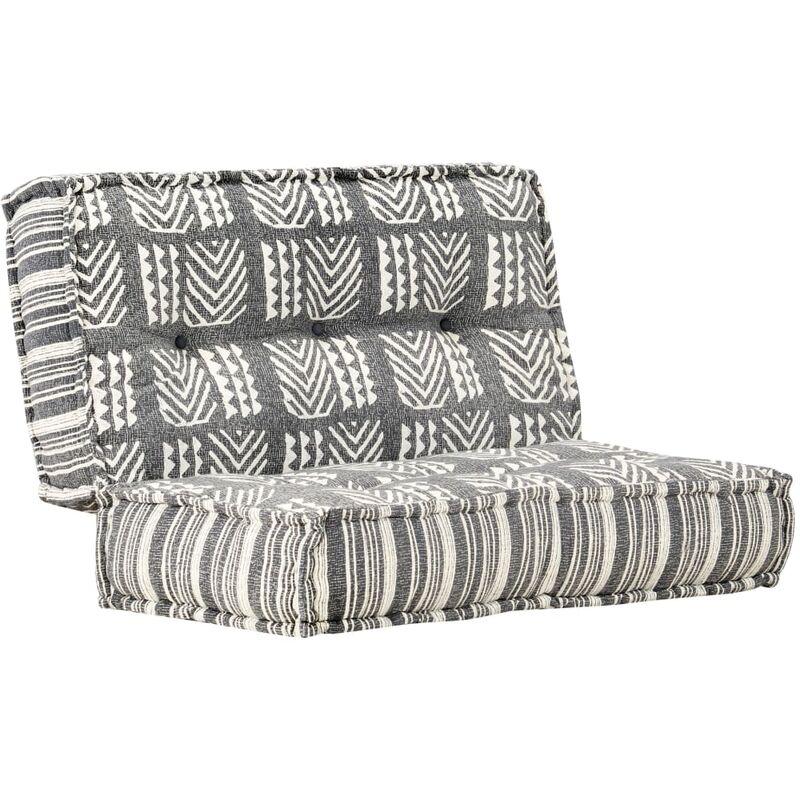 Coussin de canapé siège latéral de canapé pouf 100x100x20 cm gris rayé tissu - gris