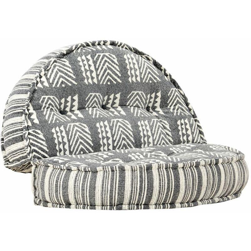 Coussin de canapé siège latéral de canapé pouf 100x20 cm gris rayé tissu - gris