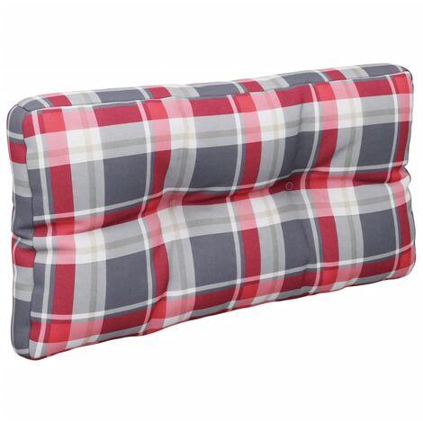Coussin de canapé palette Motif à carreaux rouge 80x40x12 cm