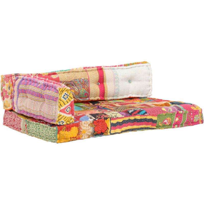 Coussin de canapé palette Multicolore Tissu Patchwork