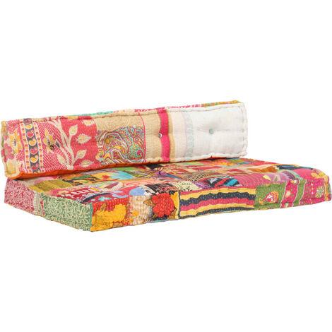 Coussin de canape palette Multicolore Tissu Patchwork
