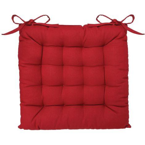 Coussin de chaise carré - Long. 38 cm - Rouge - Rouge