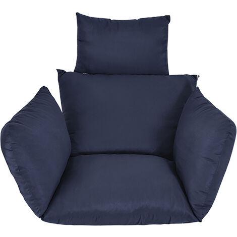 Coussin de chaise hamac suspendu coussin de siège pivotant coussin épais nid chaise suspendue dos avec oreiller marine bleu marin Sans chaise