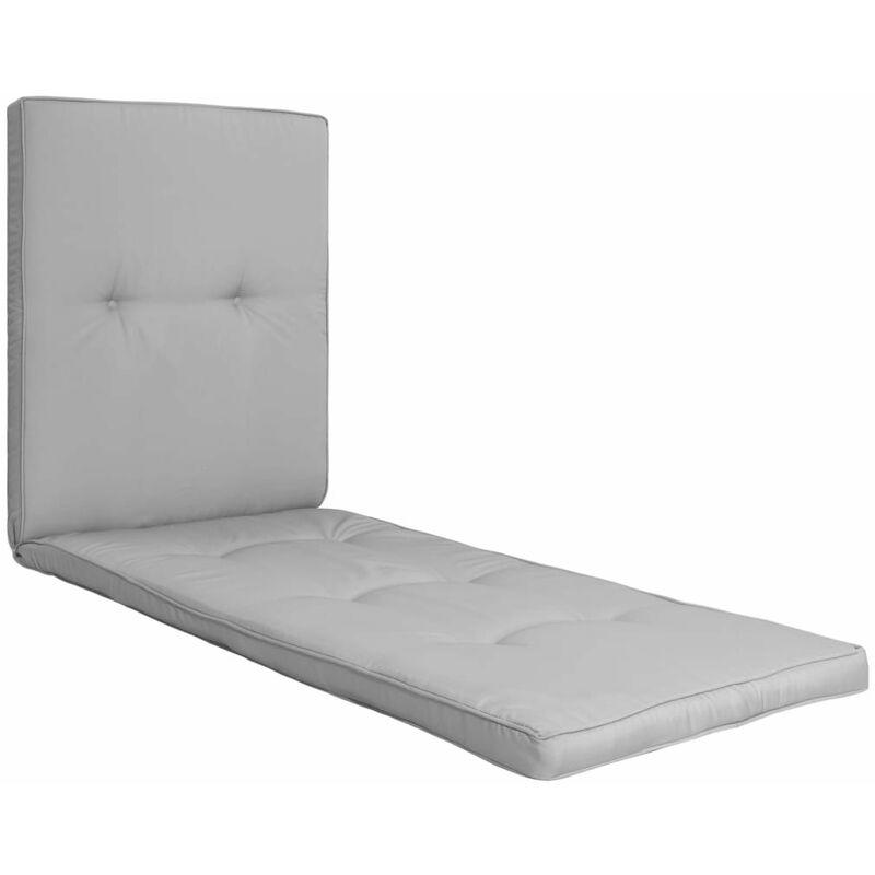 Coussin de chaise longue 100 % polyester imperméable gris 190x60x5 cm - gris