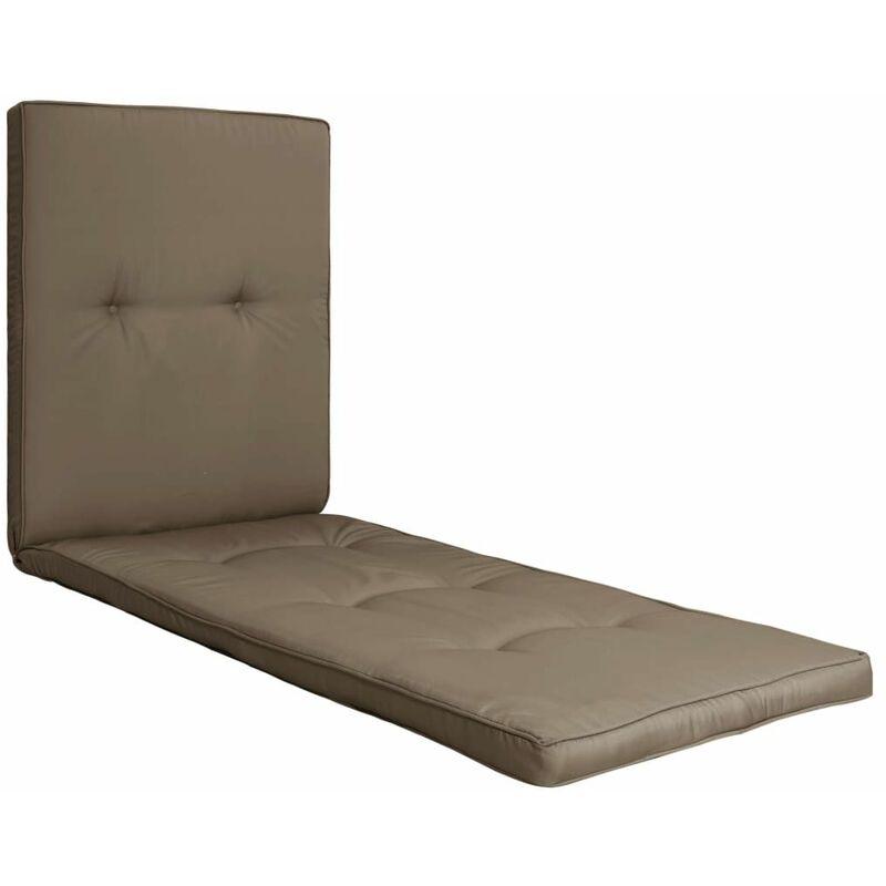 Décoshop26 - Coussin de chaise longue 100 % polyester imperméable taupe 190x60x5 cm - taupe