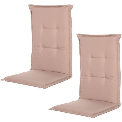 Coussin de chaise longue - galette de chaise de jardin - dim. 120L x 50l cm - rembourrage 6 cm - cordons et ceinture d'attache - polyester beige