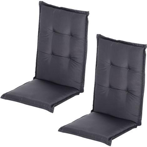 Coussin de chaise longue - galette de chaise de jardin - dim. 120L x 50l cm - rembourrage 6 cm - cordons et ceinture d'attache - polyester gris foncé