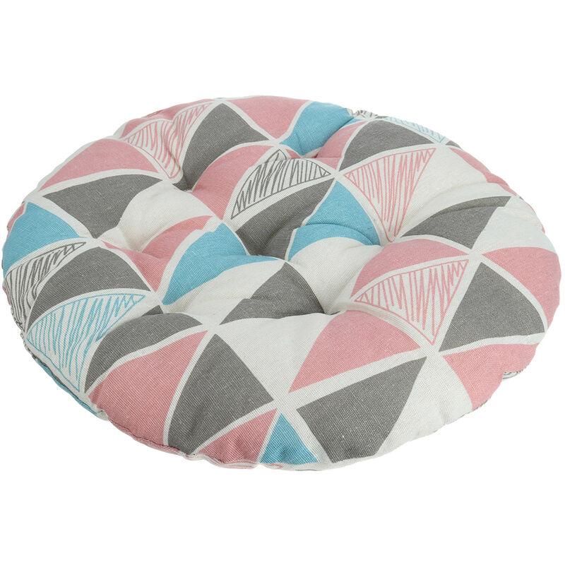 Coussin de chaise rond en coton 40x40cm Coussin plus épais Tapis de siège de bureau Triangle rose