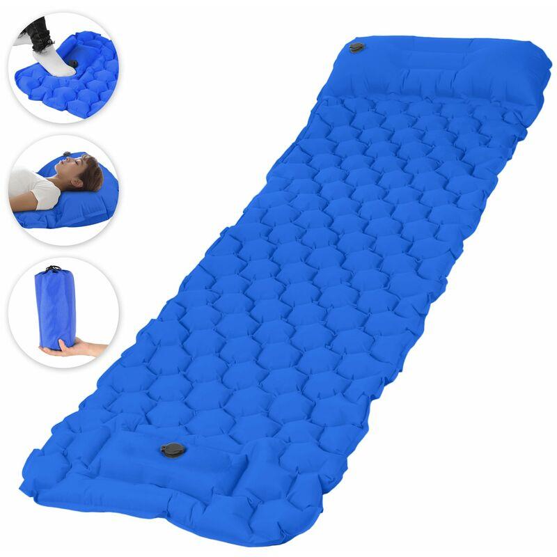 Asupermall - Coussin De Couchage Gonflable Avec Matelas Gonflable A Pompe A Pied D'Oreiller, Bleu Royal, Motif Hexagonal