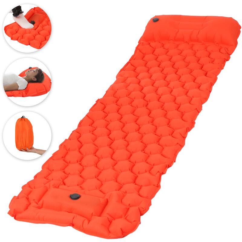 Coussin De Couchage Gonflable Avec Matelas Gonflable De Pompe A Pied D'Oreiller, Orange, Motif De Cellules Hexagonales