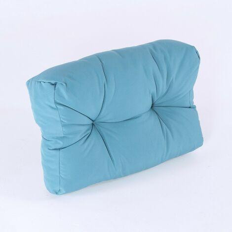 Coussin de dossier pour palette   Dimensions: 40x60x16 cm   Couleur turquoise standard   Résistant aux gouttes d\'eau  Livraison gratuite