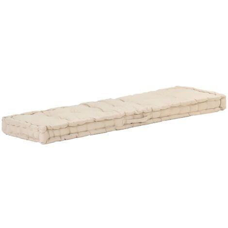 Coussin de plancher de palette Coton 120x40x7 cm Beige