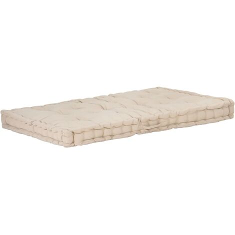 Coussin de plancher de palette Coton 120x80x10 cm Beige