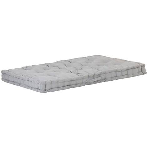 Coussin de plancher de palette Coton 120x80x10 cm Gris
