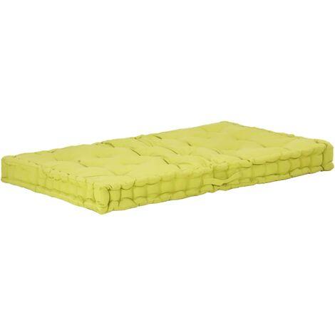Coussin de plancher de palette Coton 120x80x10 cm Vert