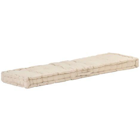 Coussin de plancher de palette Coton matelas de sol 120x40x7 cm Beige - Beige