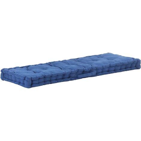 Coussin de plancher de palette Coton matelas de sol 120x40x7 cm Bleu clair - bleu