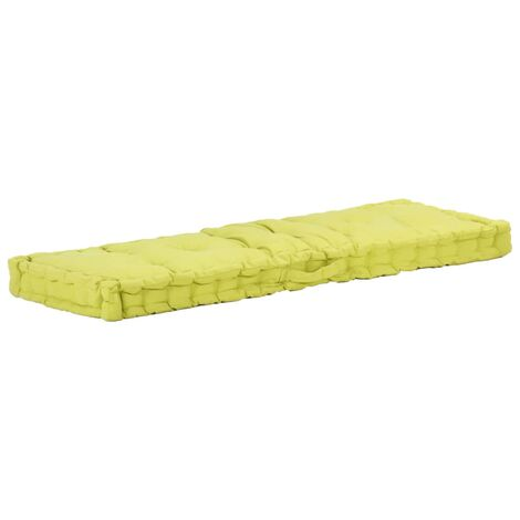 Coussin de plancher de palette Coton matelas de sol 120x40x7 cm Vert - vert