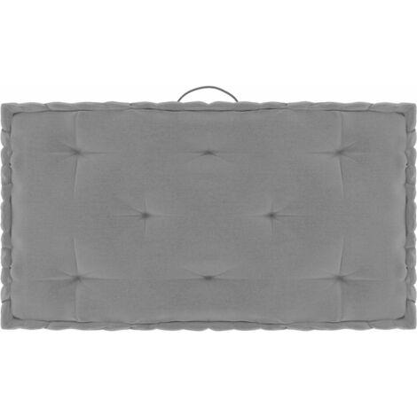 Coussin de plancher de palette Gris 73x40x7 cm Coton
