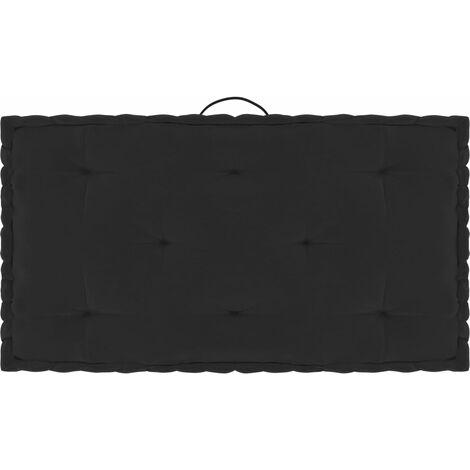 Coussin de plancher de palette Noir 73x40x7 cm Coton