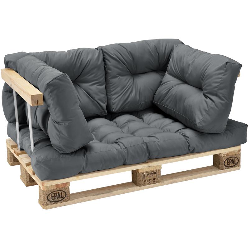 [en.casa] - Coussin de siège et Coussin de dossier gris brilliant - type 2