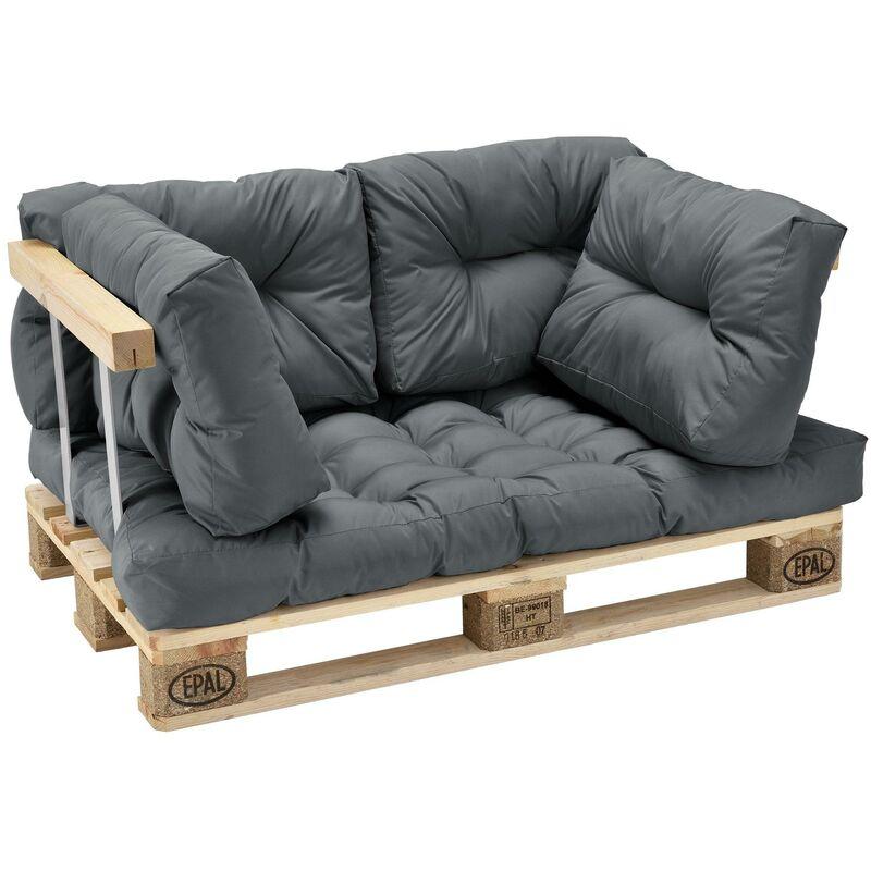 Helloshop26 - Coussin de siège et coussin de dossier pour canapé palette gris brillant - Gris