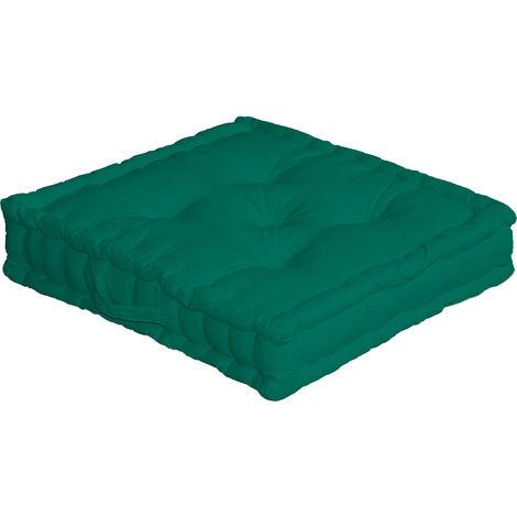 Coussin de Sol Uni avec Poignée Vert 50 x