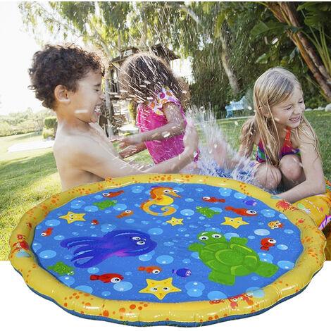 Coussin Gonflable En Pvc Jeu Pour Enfants Bebe Vaporiser L'Eau Tapis D'Ete Jardin Pelouse Enfants Playmat Parent-Enfant Jeu D'Eau Tapis, 100Cm