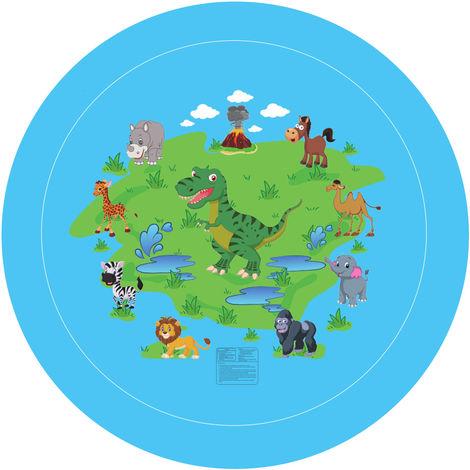 Coussin Gonflable Pvc Bebe Enfants Vaporiser Jeu D'Eau Tapis D'Ete Jardin Pelouse Enfants Playmat Parent-Enfant Jeu D'Eau Tapis, 170Cm (Dinosaure Bleu)
