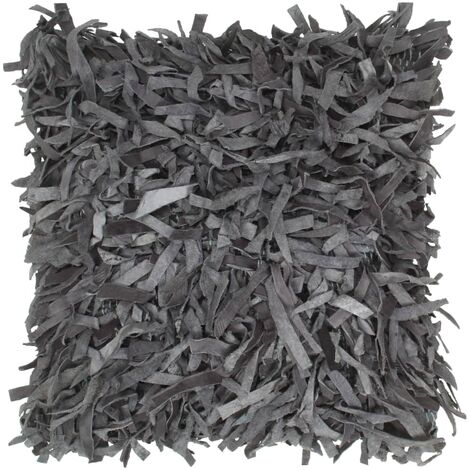 Coussin gris 60x60 cm en cuir et coton - gris