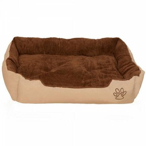 Coussin lit panier matelas pour chien 110 x 80 x 18 cm marron - Marron