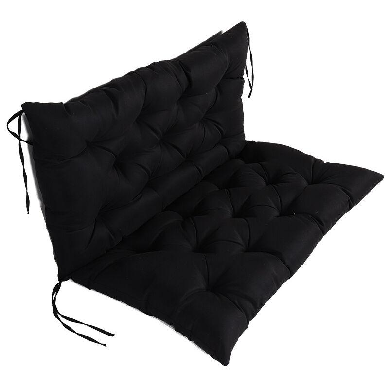 Betterlife - Coussin Matelas Assise Dossier pour Banc de Jardin balancelle canapé 1 Places Grand Confort 100 x 100 x 10cm Noir