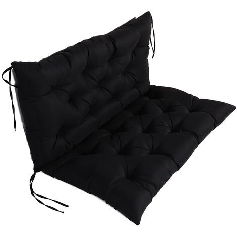 Coussin Matelas Assise Dossier pour Banc de Jardin balancelle canapé 1 Places Grand Confort 100 x 100 x 10cm Noir