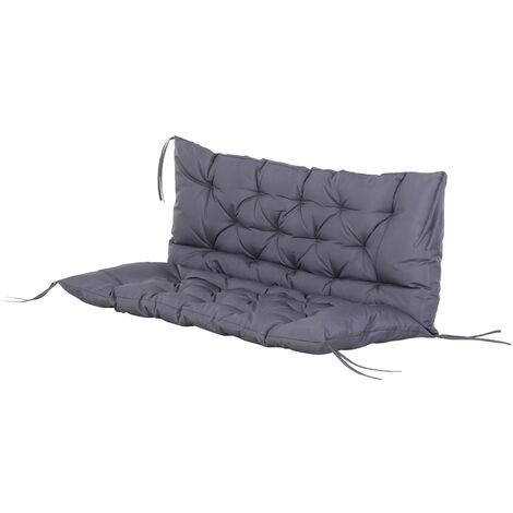 Coussin matelas assise dossier pour banc de jardin balancelle canapé 2 places grand confort 120 x 110 x 12 cm gris - Gris