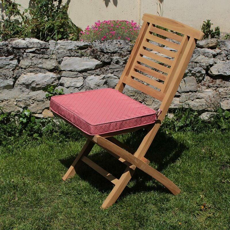 Coussin à motifs corail/blanc pour chaises et fauteuils pliants - Motifs Corail