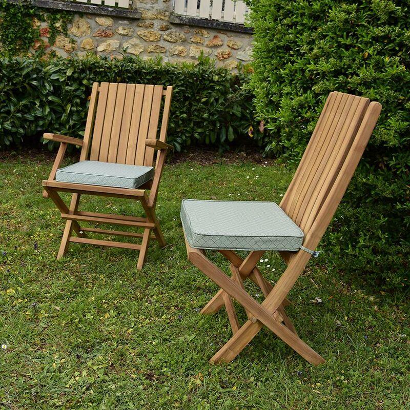 Coussin à motifs gris/blanc pour chaises et fauteuils pliants - Motifs Vert De Gris