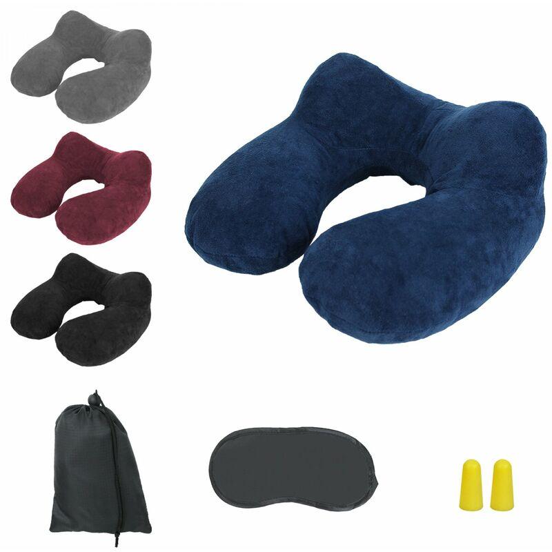 Coussin, oreiller de voyage gonflable avec bouchons d'oreilles, masque de nuit et sac de rangement - Bleu - Vivezen