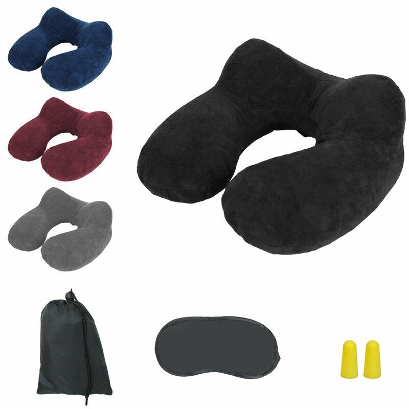 Coussin, oreiller de voyage gonflable avec bouchons d'oreilles, masque de nuit et sac de rangement - Noir - Vivezen
