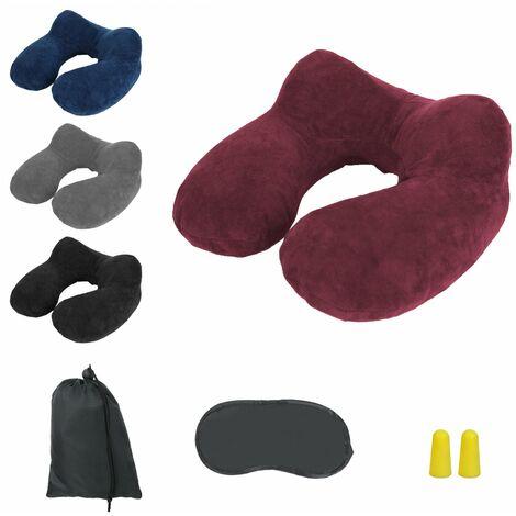 Coussin, oreiller de voyage gonflable avec bouchons d'oreilles, masque de nuit et sac de rangement - Vivezen