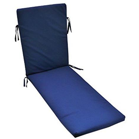 Coussin pour bain de soleil déhoussable coloris bleu - Dim : 190 x 58 x 5cm