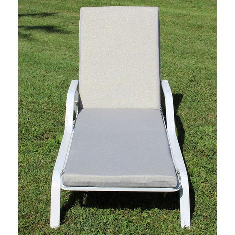 Coussin pour bain de soleil déhoussable coloris Brilli gris - Dim : 190 x 58 x 5 cm -PEGANE-
